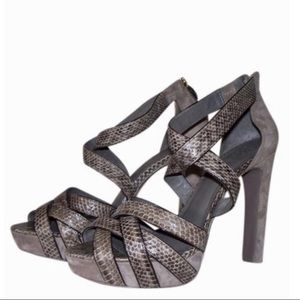 TORY BURCH  Watersnake Venice Heel Leather Sandal